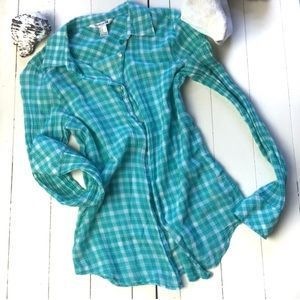 Turquoise and white lightweight plaid shirt